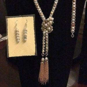 Handcrafted Lariat, Bracelet, and Earrings